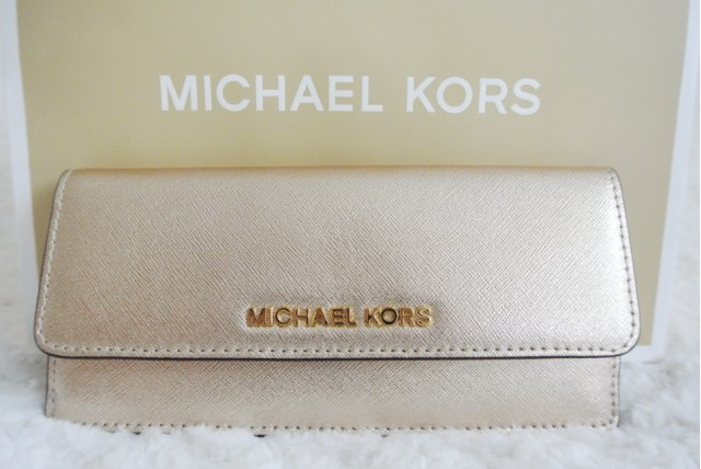 GlitZeeGlam | Michael Kors Jet Set Metallic Saffiano Leather Wallet
